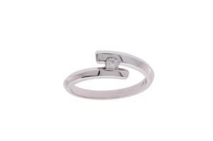 Witgouden R&C groeidiamant ring met 0.08crt diamant