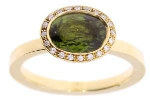 R&C geelgouden damesring met groene toermalijn en 0.12 crt diamant