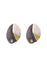 zilveren oorknoppen met diamant