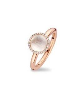 18 krt roségouden ring met 0.08 crt diamant witte kwarts doublet