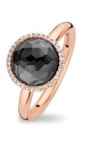 18 krt roségouden ring met 0.10 crt diamant hematiet doublet