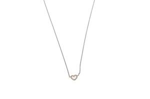 Witgouden collier met geelgouden hart en 0.07crt diamant