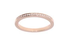 14 karaat roségouden damesring met 0.09 crt diamant