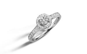 Witgouden damesring met 0.36 crt diamant
