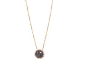 18 krt roségouden hanger met 0.08 crt diamant en hematiet doublet incl. collier