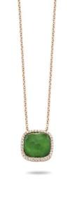 18 krt roségouden hanger met 0.09 crt diamant en smaragd triplet incl. collier