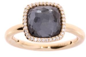 18 krt roségouden ring met 0.10 crt diamant en hematiet doublet