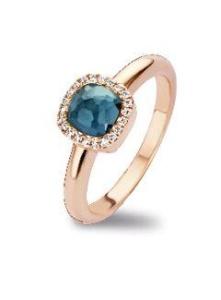 18 krt roségouden ring met 0.09 crt diamant London Blue topaas doublet