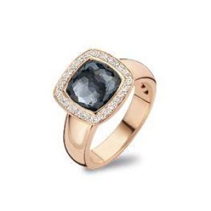 18 krt roségouden ring met 0.25 crt diamant en hematiet doublet