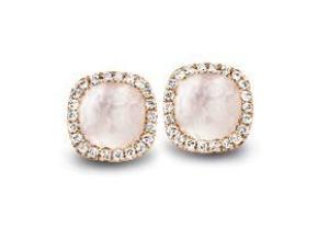 Tirisi  Jewelry 18 krt roségouden oorknoppen met 0.17 crt diamant en witte kwarts doublet
