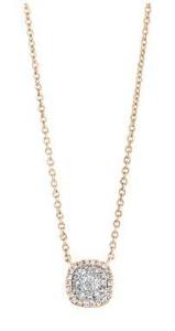 18 krt roségouden hanger met 0.22 crt diamant incl. collier