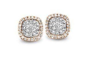 Tirisi  Jewelry 18 krt roségouden oorknoppen met 0.44 crt diamant
