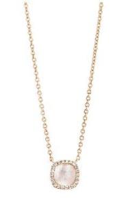 18 krt roségouden hanger met 0.09 crt diamant en witte kwarts doublet incl. collier