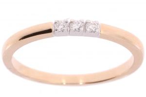 14 karaat roségouden damesring met 0.06 crt diamant
