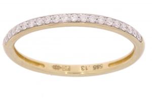 14 karaat geelgouden aanschuifring met 0.14 crt diamant