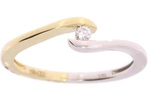 Bicolor gouden damesring met 0.04 crt diamant