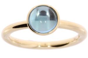 Geelgouden ring met blauw topaas