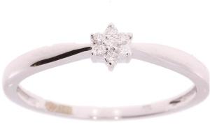 14 karaat witgouden damesring met 0.05 crt diamant