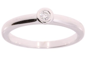 14 karaat witgouden damesring met 0.06 crt diamant