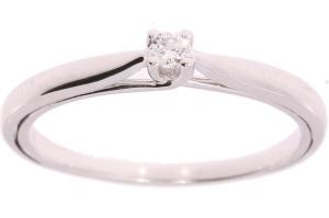 14 karaat witgouden solitair met 0.05 crt diamant