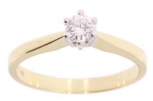 Bicolor gouden damesring met 0.22 crt diamant