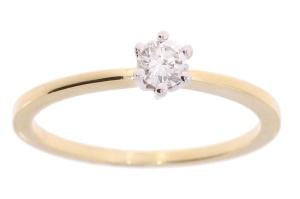 14 karaat geelgouden solitiar met 0.19 crt diamant