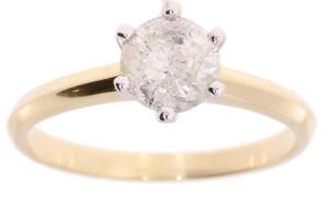 Bicolor gouden damesring met 0.90 crt diamant