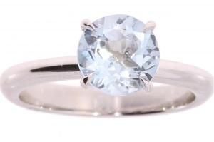Witgouden  R&C ring met blauw topaas
