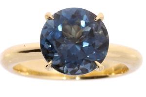 Geelgouden  R&C ring met london blue topaas