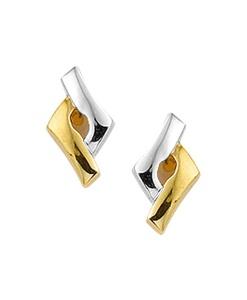 Bicolor gouden oorknopjes