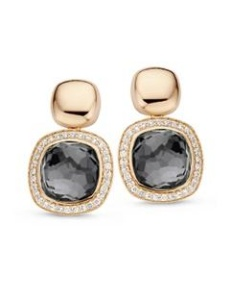 Tirisi  Jewelry 18 krt roségouden oorknoppen met 0.56 crt diamant en hematiet doublet