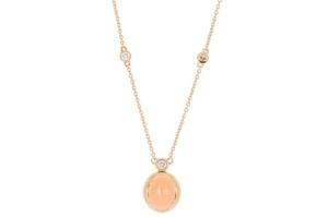 Roségouden  R&C collier met 0.15crt diamant en oranje maansteen