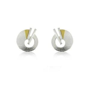 zilveren oorknoppen met goud