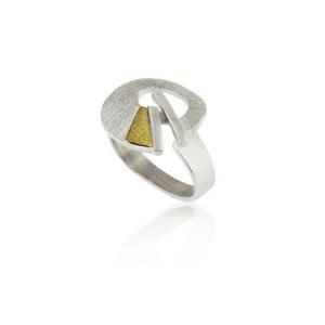 zilveren ring met goud