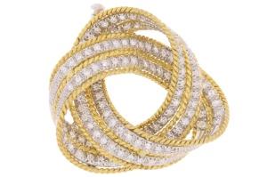 Occasion bicolor gouden broche met diamant