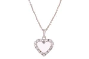 Occasion witgouden collier met hart hanger