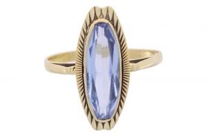 Occasion geelgouden Ring met synthetische aquamarijn