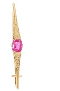 Occasion geelgouden broche met t synthetische roze steen