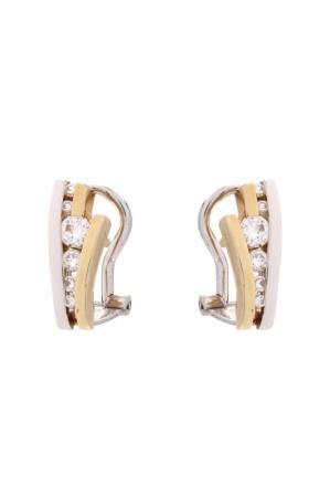 Diamant Aanbiedingen 14 krt bi color gouden oorsieraden met daarin 0.40 crt diamant Sale sieraden uitlopend