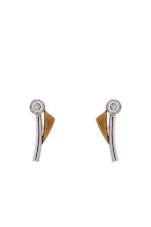 Diamant Aanbiedingen 14 krt bi-color gouden oorstekers met daarin 0.10 crt diamant Sale sieraden uitlopend