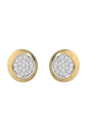 Diamant Aanbiedingen 18 krt geelgouden oorknopjes met daarin 0.54 crt diamant Sale sieraden uitlopend