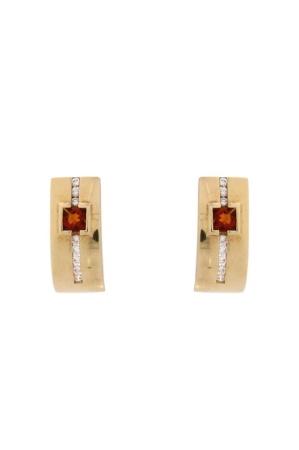 Diamant Aanbiedingen 14 krt geelgouden oorsieraden met daarin 0.08 Crt diamant en Citrien Sale sieraden uitlopend