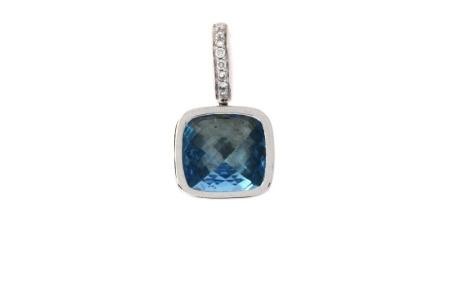 Diamant Aanbiedingen 14 krt witgouden hanger met 0.06 crt diamant en Bleu Topaas Sale sieraden uitlopend