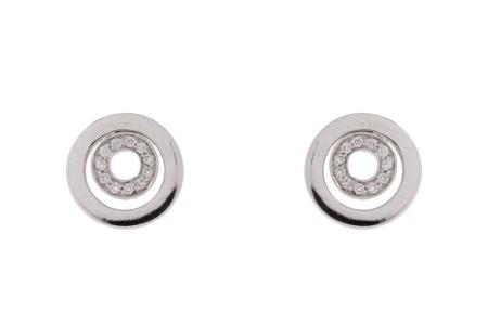 Diamant Aanbiedingen 14 krt witgouden oorstekers met daarin 0.14 crt diamant Sale sieraden uitlopend