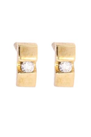 Diamant Aanbiedingen 14 krt geelgouden oorknopjes met saaarin 0.04 crt diamant Sale sieraden uitlopend