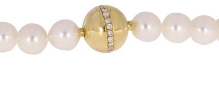 Zenka Parelcollier met geelgouden sluiting met diamant 12mm/750dz/parels ZP 8-8,5