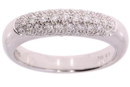 Roos 1835 18 krt witgouden damesring met totaal 0.45 crt diamant 18 krt maat 17.5