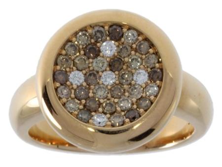 Roos 1835 18 krt. geelgouden dames ring met 0.66 crt ruwe diamant Sale sieraden uitlopend