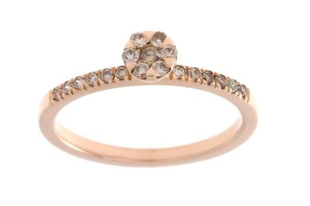 Orotech Roségouden ring met 0.22crt bruin diamant br. diamant/mt 54