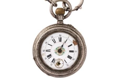 Merkloos zilveren zakhorloge met echte zilveren horloge ketting zilveren zakhorloge